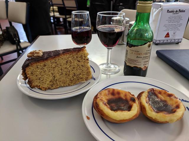 hazelnut cake and egg tarts @ Pastéis de Belém
