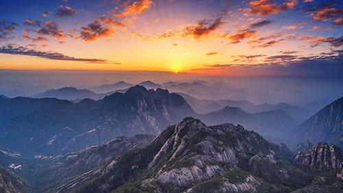 sunset dawn mountain huangshan drone mavic2pro china