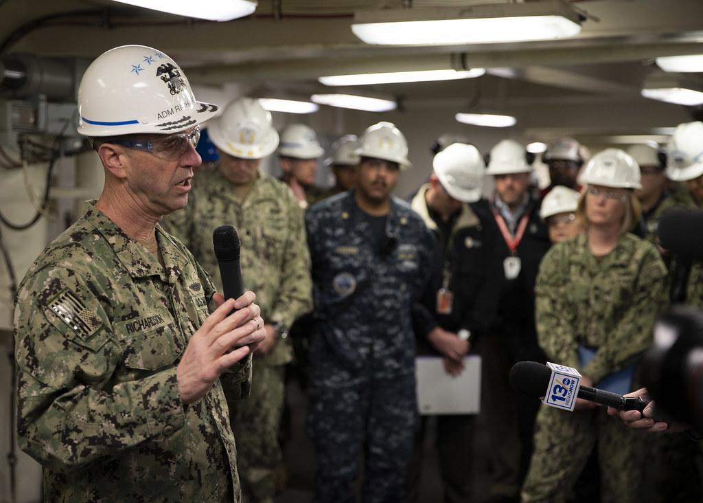 CNO Adm  John Richardson aboard USS Gerald R  Ford (CVN 78