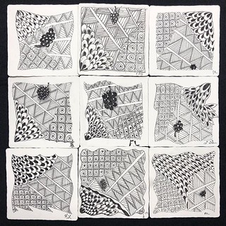 "More lovely tiles from tonight's ""Introduction to Zentangle"" class at @walkervilleartistscoop. #zentangle #tangle #tangling #czt #laurelstoreyczt #art #classes #artclass #artclasses #draw #drawing #windsor #ontario #yqg #wetangle #windsoressextangle 