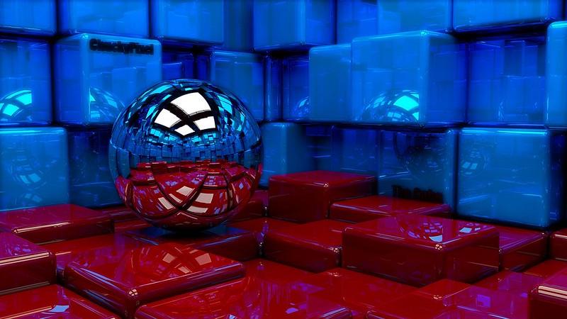 Обои шар, кубы, металл, синий, красный, отражение картинки на рабочий стол, фото скачать бесплатно