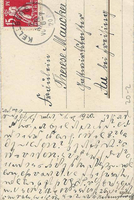 Fröhliche Ostern, 1. April 1920 ... Küken, Blumen ... Ostergrüße in Stenografie