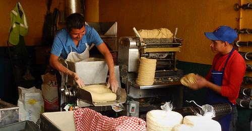 Tortilla-making machine in Mexico City