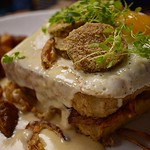 Sunday Brunch 9am-3pm ~ Patriots Send Off : BBQ Croque Madame | Smoked Pulled Pork | @rogueislandprovisions Bourbon BBQ | Smoked Gouda | Thick Cut Brioche | Custard | Mornay | Fried Pickles & Shallots | @littlerhodyfoods Sunny Egg | Micros From The Homies