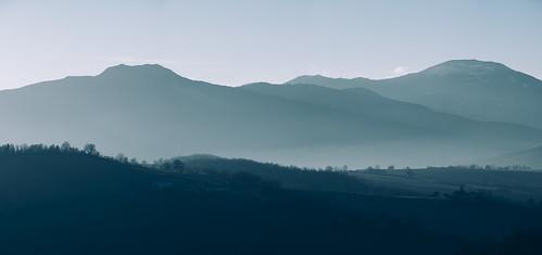 arcevia bucolic country countryside dawn fields fog haze hills italia italy land landscape marcheregion mountains nature sky sunrise sunset winter provinceofancona it