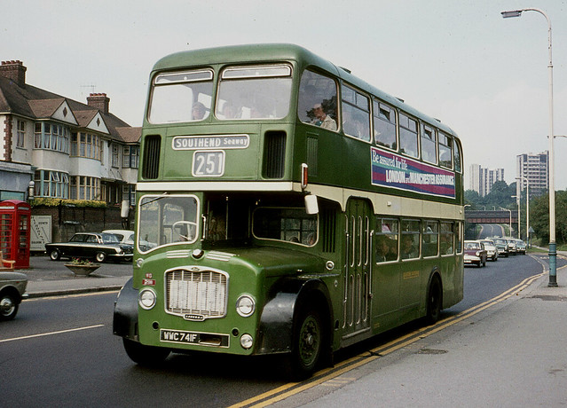 Eastern National Omnibus Co . 2911 WWC741F . Southend Road , South , Woodford , East London  . August-1970 .