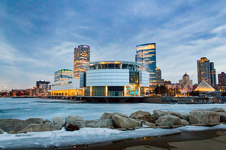 Twilight Icy Milwaukee Lakefront Skyline | by VBuckley.com