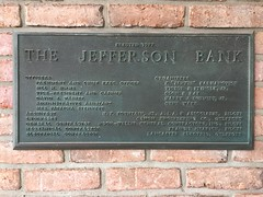 Plaque, The Jefferson Bank. Biloxi, Harrison County MS.