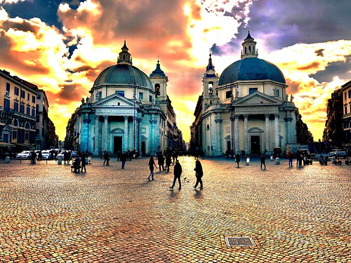 Three roads converging (called the Tridente) on the Piazza del Popolo. The twin churches of Santa Maria in Montesano on left and Santa Maria dei Miracoli on right. Rome.