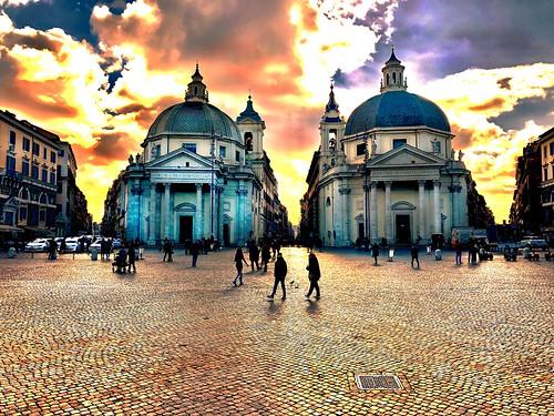 Three roads converging (called the Tridente) on the Piazza del Popolo. The twin churches of Santa Maria in Montesano on left and Santa Maria dei Miracoli on right. Rome.