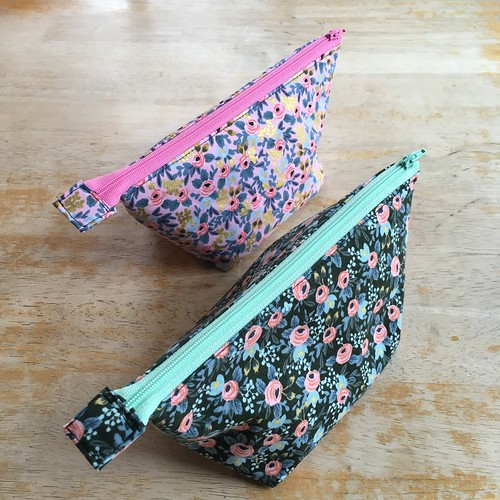 Open Wide Zippered Pouch in Rifle Paper Co. Rosa | by patternandbranch