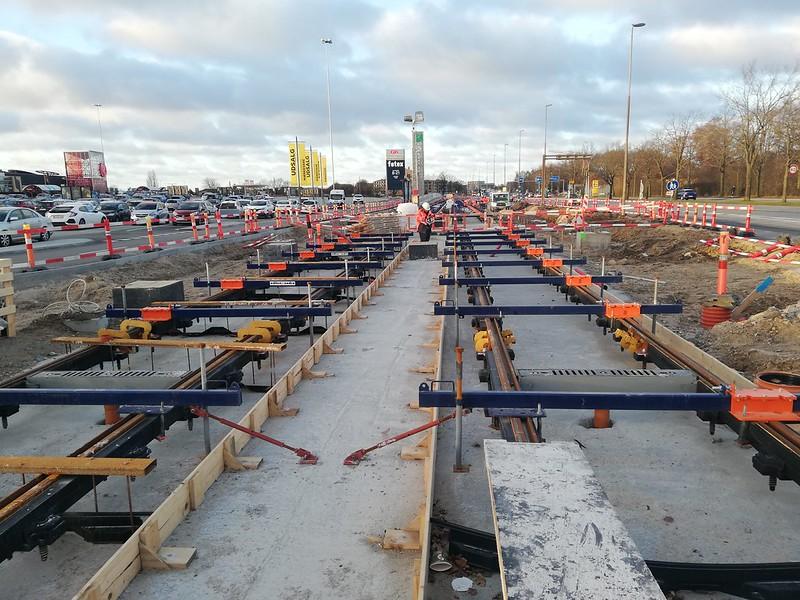 Construcción del tranvía de Odense (Dinamarca)