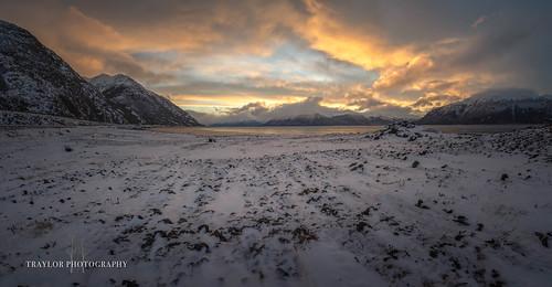 alaska belugapoint leadinglines landscape winter panaroma sewardhighway sunrise colors anchorage indian unitedstatesofamerica us