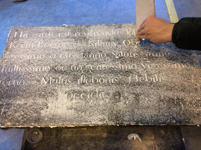 The plaque in the process of being restored at OPW Works, Killarney.