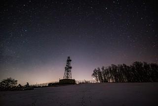 Sternenhimmel während der totalen Mondfinsternis auf dem Raßberg