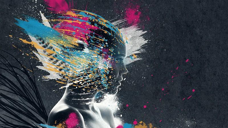 Обои лицо, краска, взрыв, воображение картинки на рабочий стол, фото скачать бесплатно