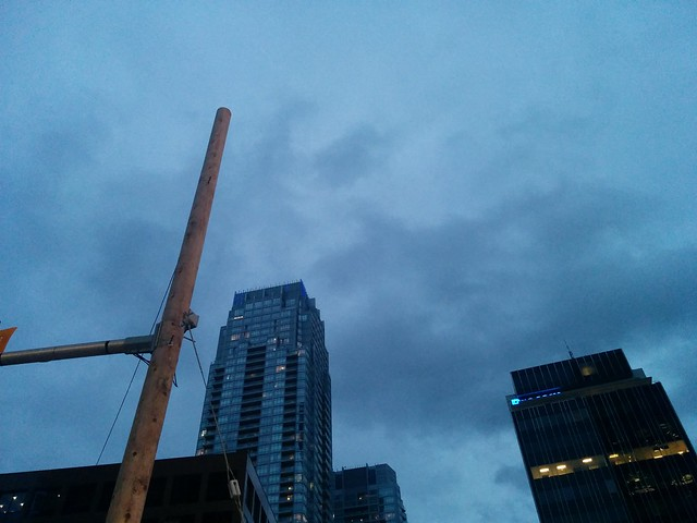 Steel blue clouds, looking south #toronto #yongeandeglinton #yongestreet #steelblue #blue #clouds #evening #twilight #sky #towers