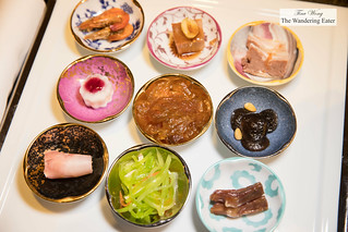 """""""Jiang Nan"""" style cold appetizers 江南精美九宫碟(位) - sweet small river shrimp, yam, duck tongue, crunchy pickled pigs ears, two different types of Chinese style charcuterie, shiitake mushrooms with pine nuts   by thewanderingeater"""