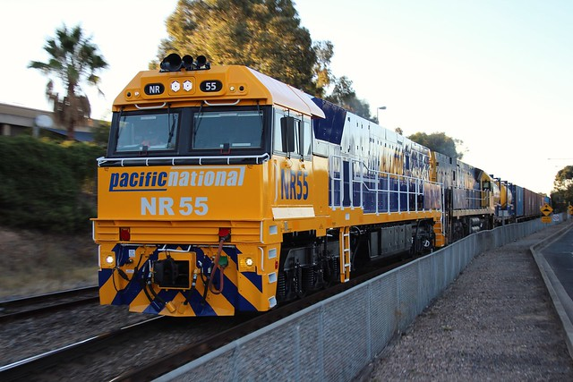 3AM5 passing Adelaide Parklands terminal with freshly repainted NR55 and NR91