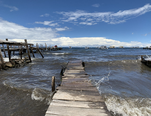 Pier, Playa de Copacabana at 3,812 meters (12,507 ft) above sea level, Av. Costanera, Copacabana, Bolivia.