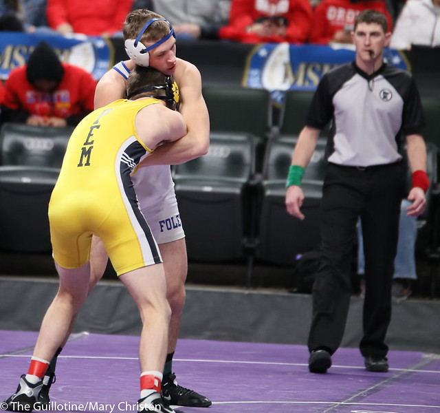 152AA 5th Place Match - Carter Marx (Plainview-Elgin-Millville) 46-9 won by decision over Connor Thorsten (Foley) 45-6 (Dec 7-6). 190302BMC3737