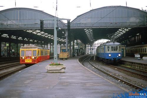 4608 + AM 35 228 012 SNCB . Aachen Hbf 26.06.88. ( Dernier parcours 46 Letzte Fahrt ).