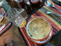 Chicken Soup, Costazul Coffee-Restaurant at 3,812 meters (12,507 ft) above sea level, Copacabana, Lake Titicaca, Bolivia.
