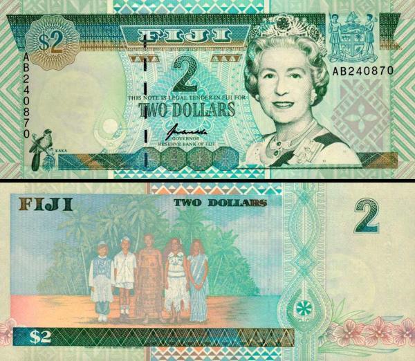 2 fidžijské doláre Fidži 1996, P96b