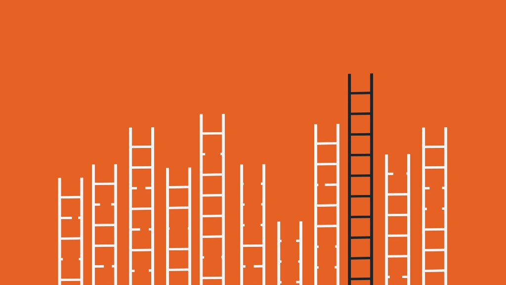 A graphic on an orange background, featuring ladders at different heights.