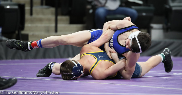 132 – Ryan Nosbush (Mora) over Bryce Erkenbrack (Totino-Grace) Fall 1:34. 190228BMC1880