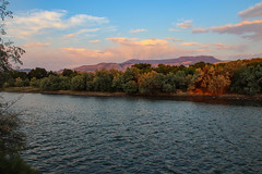 Grand Mesa and the Colorado River at Sunset - Palisade, Colorado