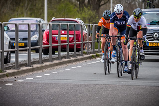 After 68 km. Breakaway of three, Romy Kasper, Mieke Kröger and Nicole Steigenga, | by G. Warrink