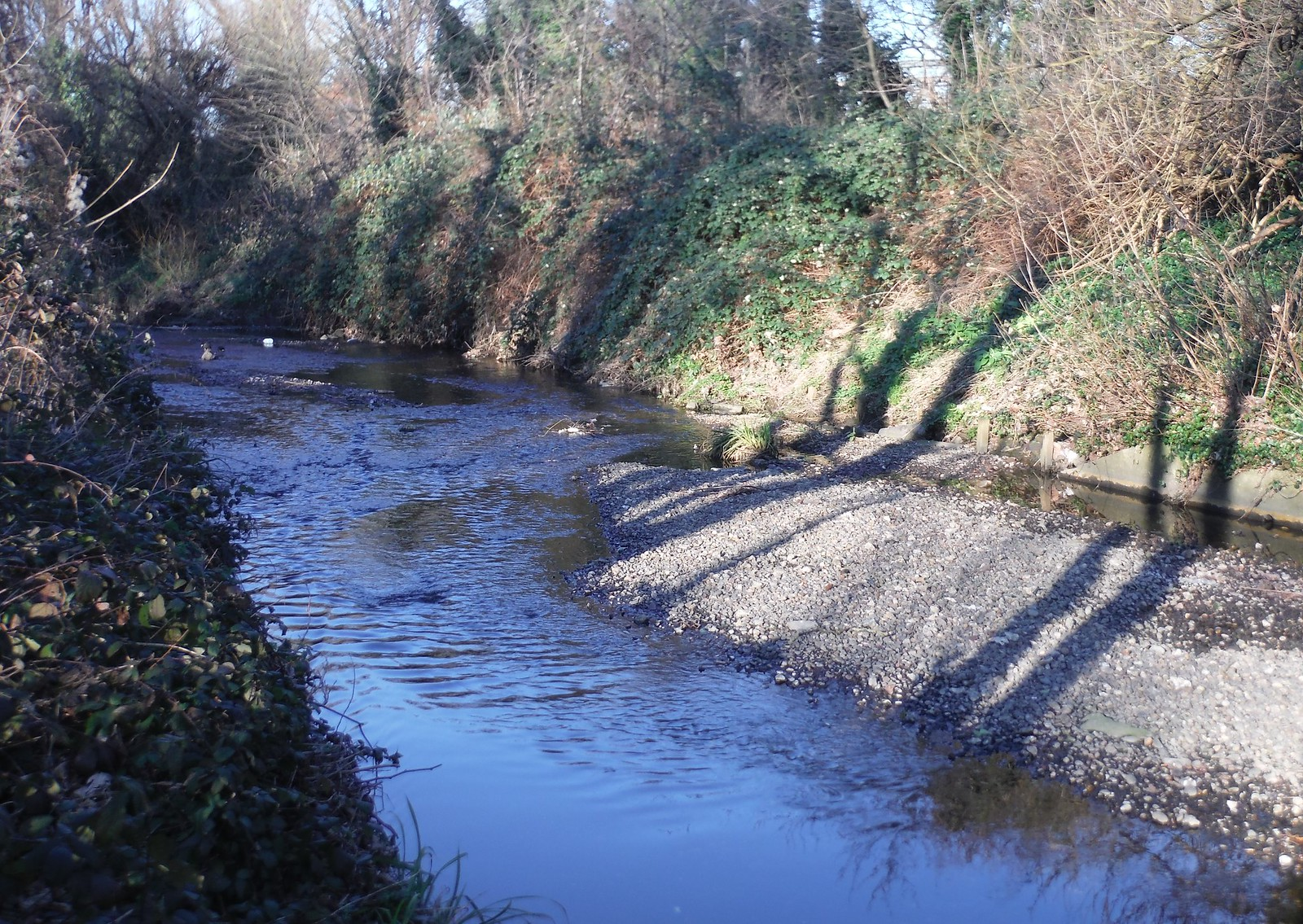 Gravel Bed in River Ravensbourne SWC Short Walk 36 - Waterlink Way (Lower Sydenham to Greenwich)