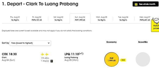 Scoot Airlines Clark to Luang Prabang Promo