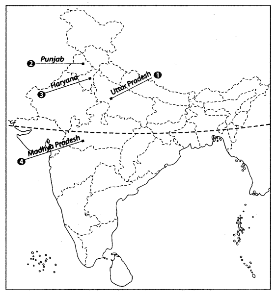 Class 10 Geography Map Work Chapter 4 Agriculture A1
