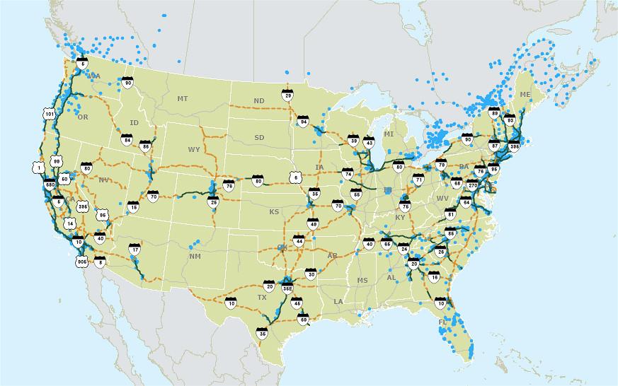 美國高速公路充電站