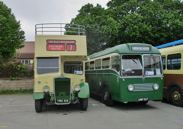 ECW bodied Bristol K5G  YWG109 & Park Royal bodied AEC Regal IV UMP227 at IOW Bus Museum 20 May 2018