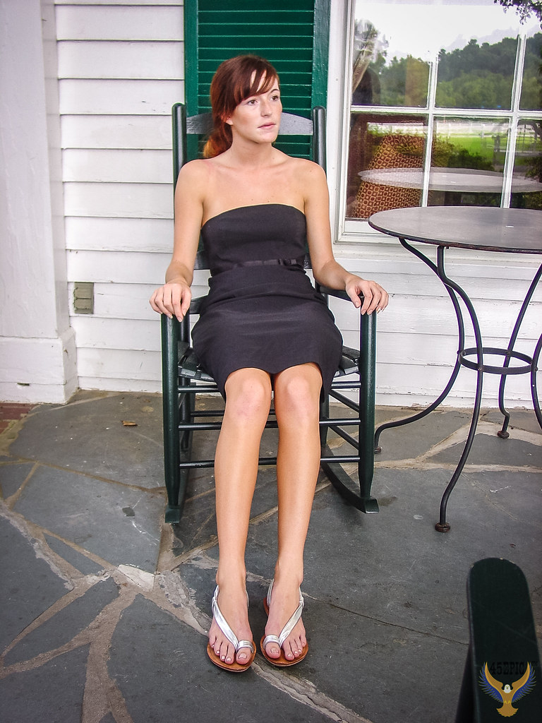 Rocking Chair Front Porch! Pretty Redhead Country Girl