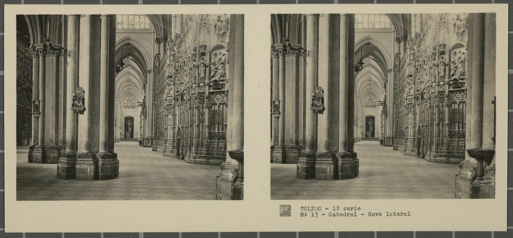Nave lateral de la Catedral. Colección de fotografía estereoscópica Rellev © Ajuntament de Girona / Col·lecció Museu del Cinema - Tomàs Mallol