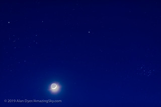 Waxing Moon, Mars and the Taurus Clusters | by Amazing Sky Photography
