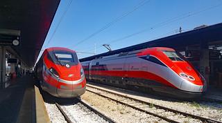 Frecciarossa trains at the main Rome terminal