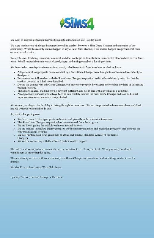 Declaração Oficial Sobre Conduta Inadequada no Programa de Game Changers