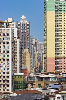 Crowded Macanese Cityscape Seen from Monte Forte