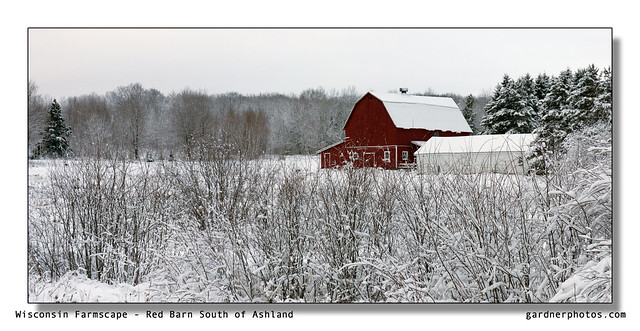 Wisconsin Farmscape - Red Barn South of Ashland