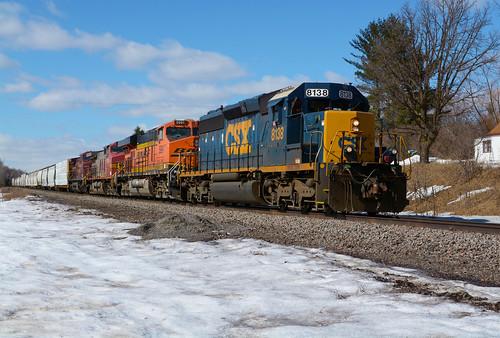 csx pasntw crushing mn minnesota staples sub emd sd402 8138 bnsf burlington northern santa fe train locomotive winter