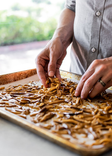 spreading the shiitake slices in a single layer helps them cook evenly | by Husbands That Cook