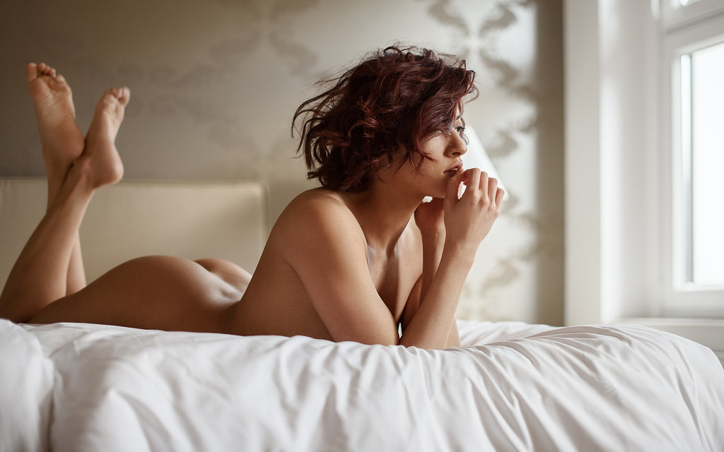 Beautiful silhouette of nude sensual erotic woman stock photo