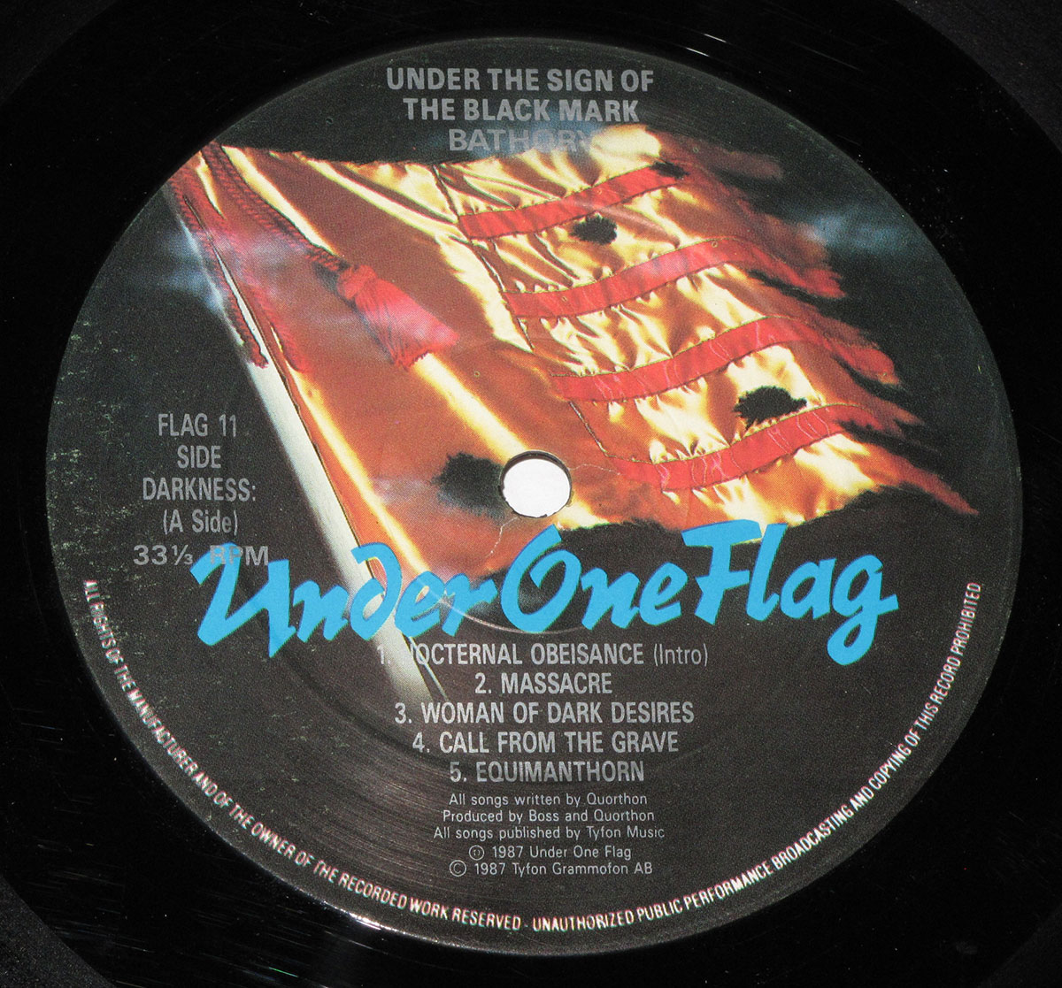 "BATHORY Under The Sign Of The Black Mark Lyrics Sleeve 12"" Lp"