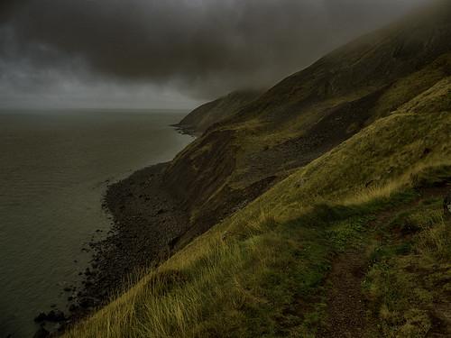 somerset exmoor hurlestonepoint southwestcoastalpath cliffs moorland coast sea bristolchannel fog cloud drama landscape sky uk england desimage exmoornationalpark
