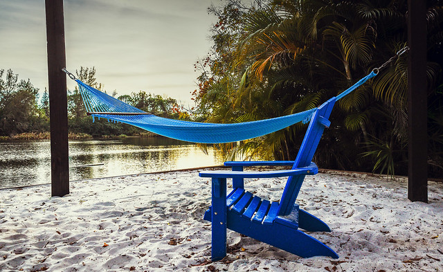 Naples, Florida - Empty Chair and Hammock